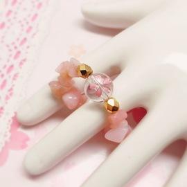 桜水晶リング